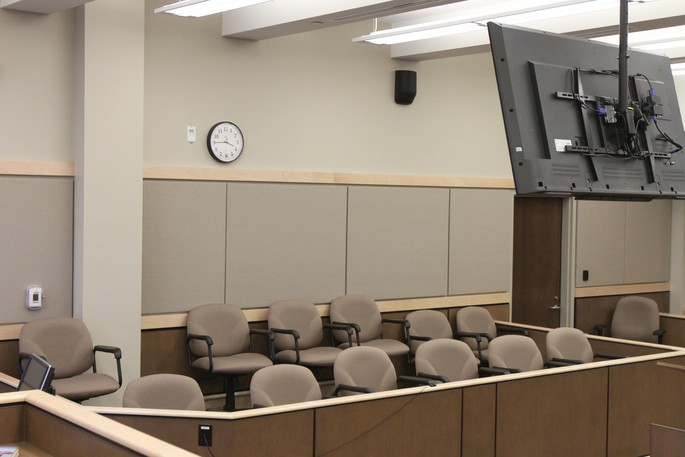 A courtroom at the Saint John Law Courts is shown in this file image.
