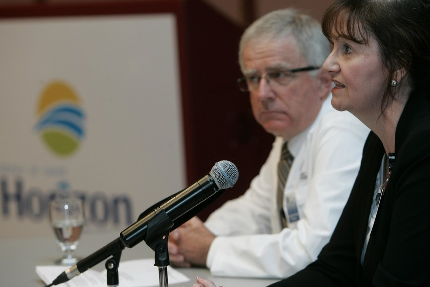 Margaret Melanson, vice-president of quality and patient-centred care for the Horizon Health Network, pictured above in this file photo alongside Dr. Brian Wheelock, of the Saint John Regional Hospital, recently told the Horizon board of directors that staff are struggling to consistently serve French patients in their language of choice.