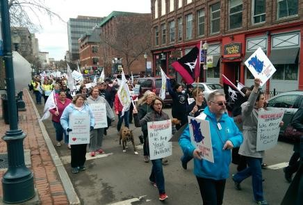 Health-care workers, members of CUPE local 1252, march down Main street in Moncton in this file photo.