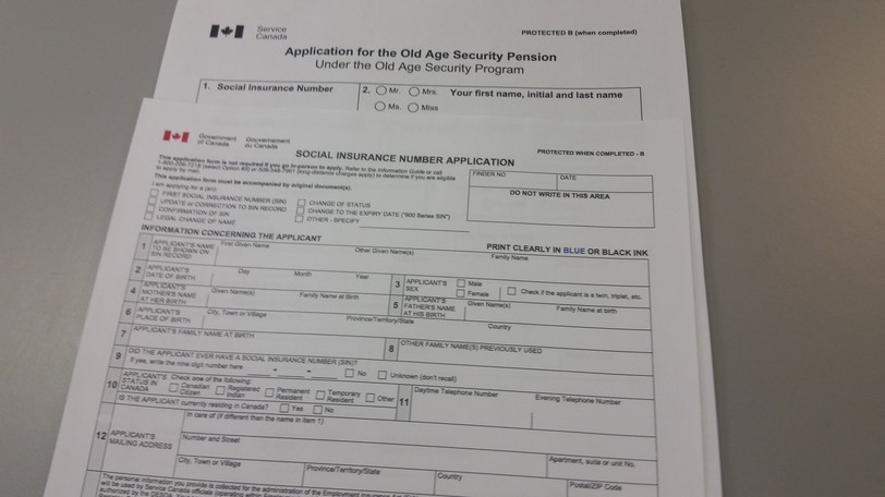 The forms for old age security and social insurance numbers.