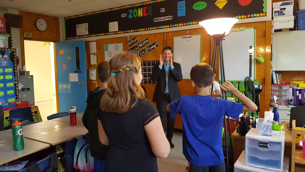David McTimoney, superintendent of Anglophone School District West, meets new students at Summerhill Street Elementary School in Oromocto in this file photo. McTimoney said he feels teachers are doing a good job teaching during the pandemic.