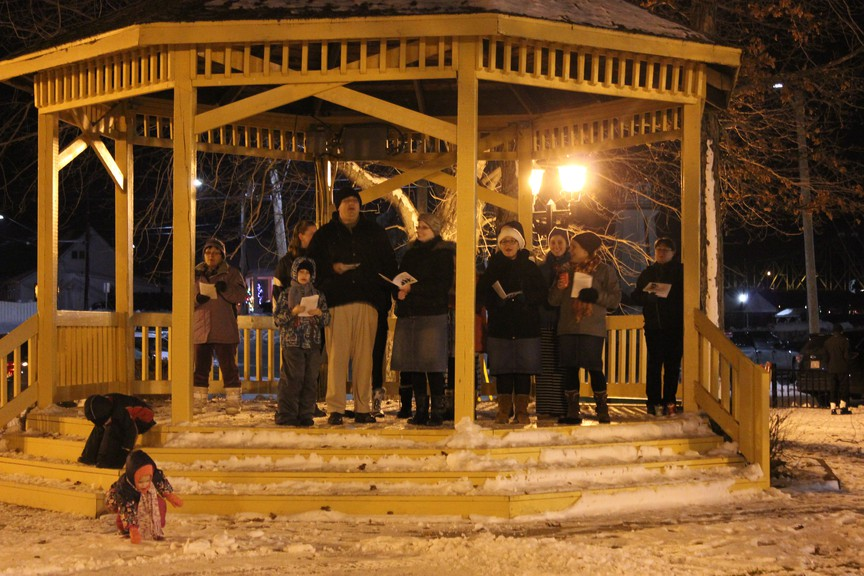 In this file photo, carollers are pictured in the bandstand at Riverside Park in Campbellton on Dec. 7, 2016 for the lighting of the Hong Kong remembrance Christmas tree. Carols will be sung in the Hampton Town Square this Dec. 5 to entertain passers-by while the Hampton Food Basket collects donations.