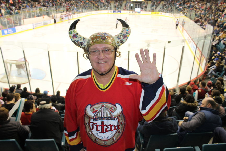 Acadie-Bathurst Titan super fan Fred Best is pictured during the 2018 Quebec Major Junior Hockey playoffs when the Titan won the Memorial Cup for the Canadian Hockey League.