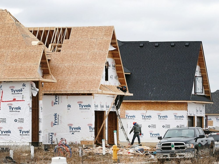 Homes under construction are shown in WIndsor, Ont.