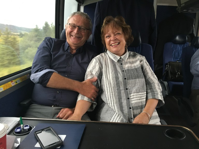 Blaine and Marcia Higgs on the Tory campaign bus in 2018.
