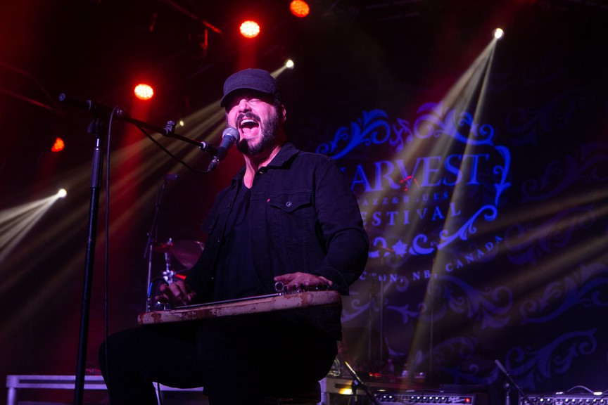 Chris Vos, singer and guitarist for California rock group The Record Company, performs in the Blues Tent in this file photo from the 2018 edition of the Harvest Jazz and Blues Festival. The festival will stream this concert online at 8 p.m. on Friday night via its Facebook page.