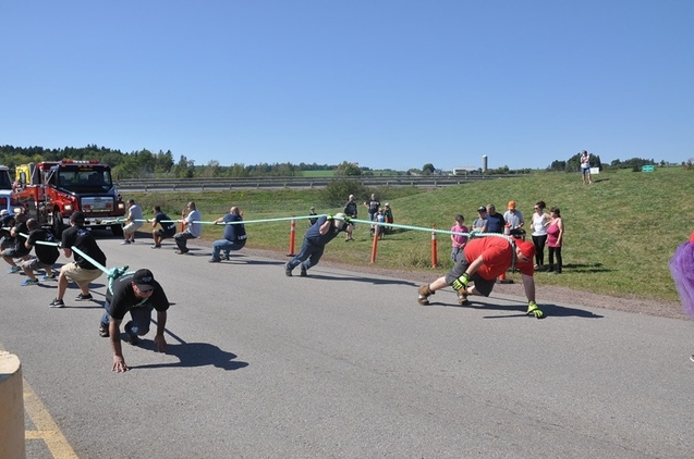 A fire truck pull between Hampton and Kennebecasis Valley fire departments is seen during a previous competition in Sussex. Hampton will host this year's pull, which raises funds for Muscular Dystrophy Canada, on Sept. 18.