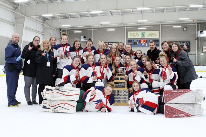 Team New Brunswick is seen here celebrating winning the under-16 girls division at a previous Atlantic Challenge Cup hockey tournament in Moncton.