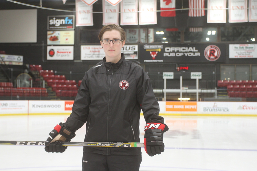 Sarah Hilworth, head coach of the UNB Reds women's hockey team.