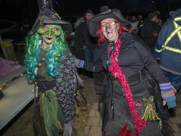 Wicked witches Denise Thibodeau-Duguay, left, and her sister-in-law Joanne Duguay were guarding the entry to a past Haunted Trails event at Daly Point.