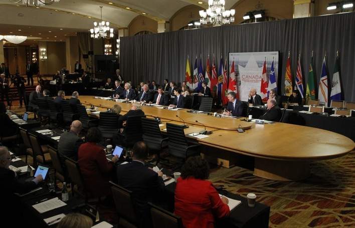 Premier Blaine Higgs is pictured at a 2018 meeting between the provinces, Prime Minister Justin Trudeau and Intergovernmental Affairs Minister Dominic LeBlanc.