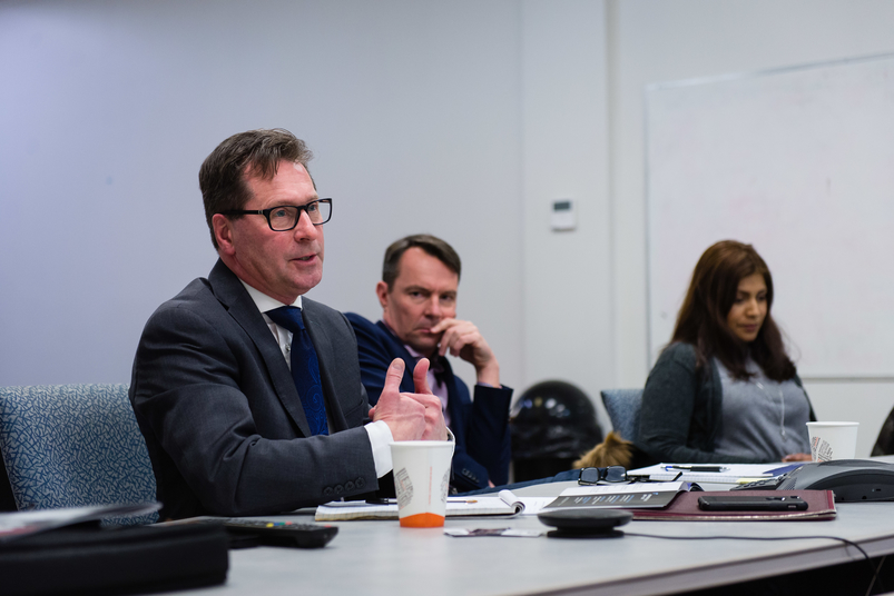 Economic Development Greater Saint John CEO Ron Gaudet speaks to the Telegraph-Journal editorial board. His agency could soon be merged with three other economic development organizations in the city.