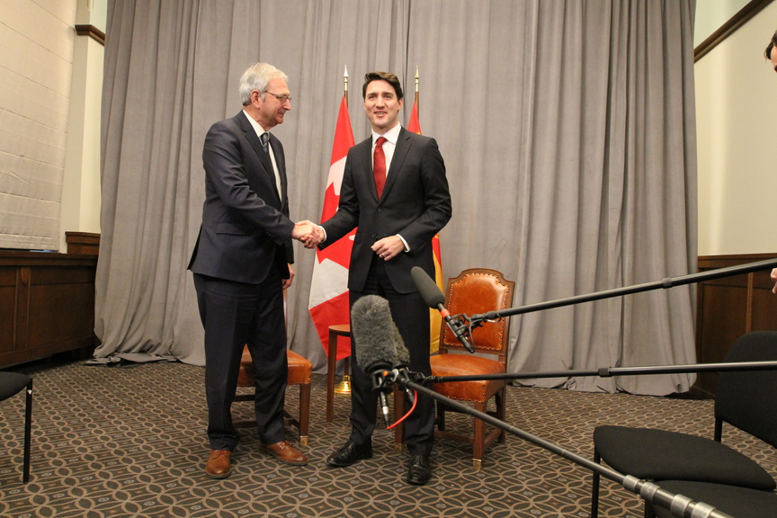 New Brunswick Premier Blaine Higgs is pictured in this file photo with Prime Minister Justin Trudeau in a West Block boardroom on Parliament Hill in Ottawa.