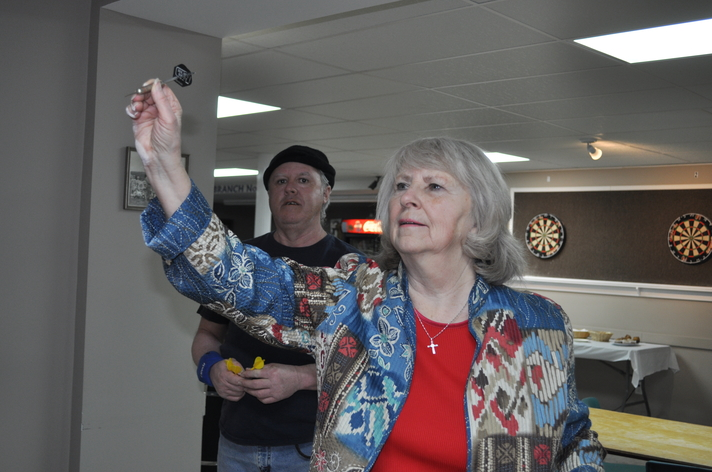 Darts were a popular event at the 15th annual Western Valley In Motion Senior Winter Games held in Plaster Rock in 2019. Jeannie Crockwell of Knoxford was among the participants along with Kevin McCarty of Plaster Rock. The 2021 edition, now known as the Forever Young Friendship Games, will be hosted in Woodstock on Sept. 23.