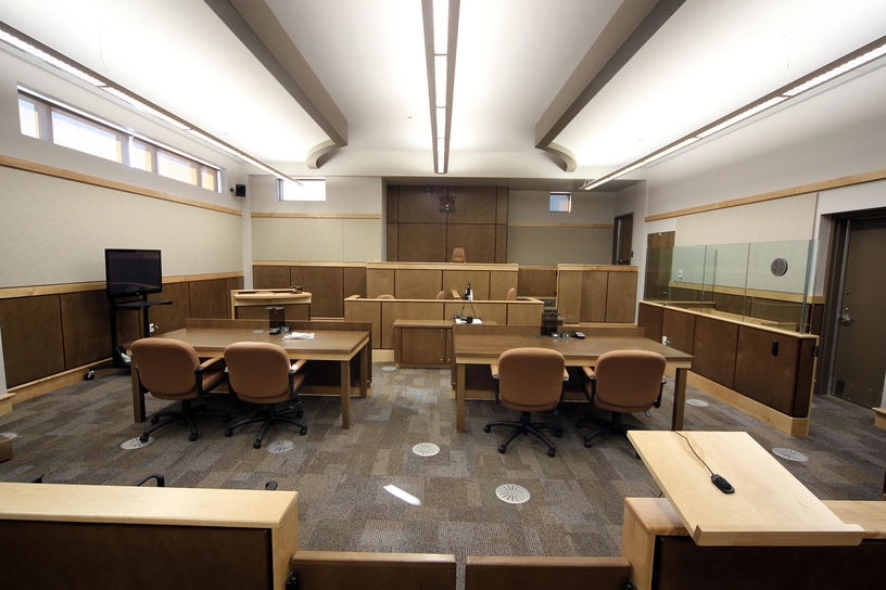 A provincial courtroom at the Moncton Law Courts.