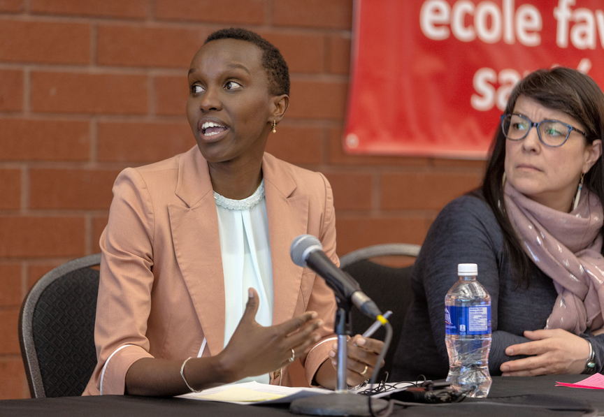 Miramichi Afro Connection Jenny-Arlette Muhimpundu President speaks at an event in 2019. MAC had added their voice to calls for more race-related education after NBCC announced last week that it is conducting an internal investigation after being alerted to a racist post credited to a student.