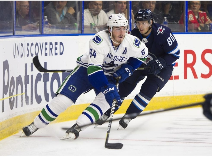 The NHL's Philadelphia Flyers have claimed former Moncton Wildcats forward Zack MacEwen, left, off waivers from the Vancouver Canucks.