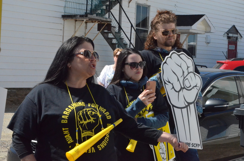 Unionized nursing home workers speak at a demonstration in 2019 in Blackville.