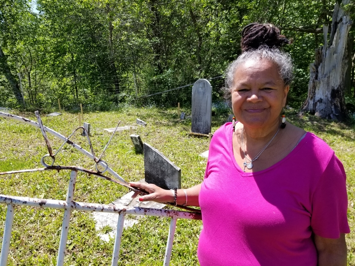 Mary Louise McCarthy-Brandt visits a small cemetery off Route 105 in Keswick that includes the resting places of some of her ancestors.