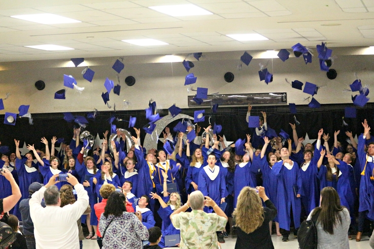 The grad class of 2019 from Carleton North High School does their cap toss. A new study shows out-migration over the last 20 years in New Brunswick led to a net loss of close to 22,000 people.