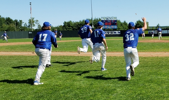 Fredericton Swifty's DQ Royals players rush towards pitcher Nick Rushton, right, after he finished a complete-game 2-1 win over the Metro Mudcats to win the 2019 New Brunswick 18U AAA baseball championship at Royals Field. Local minor baseball teams are back on the diamond to play games beginning Thursday and Friday, with action at the 15U and 13U levels.