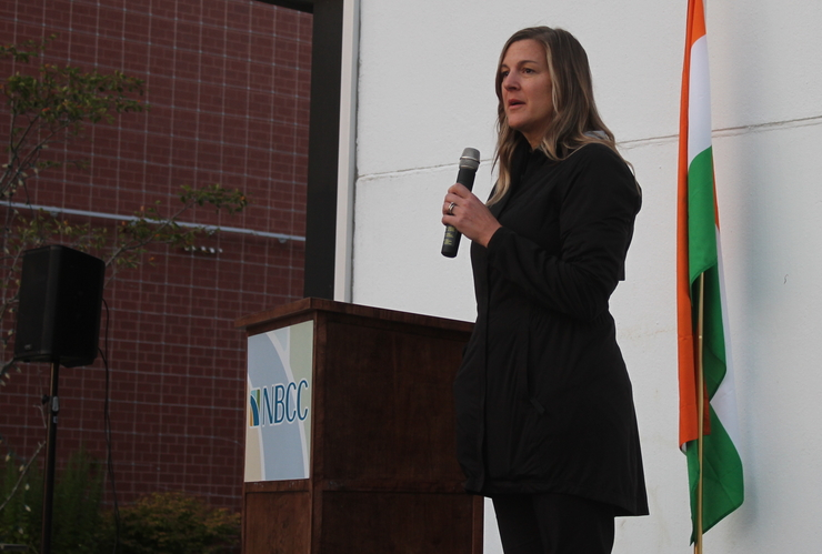NBCC president and CEO Mary Butler addresses a crowd in this file photo.
