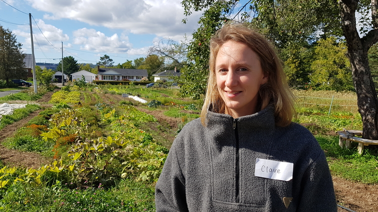 Claire May, program co-ordinator at Hayes Farm in Fredericton, stands in front of a field of crops in a file photo. Community garden groups and other organizations welcomed the province's four-year action plan to Grow NB, Buy NB and Feed NB with a local foods and beverages strategy.