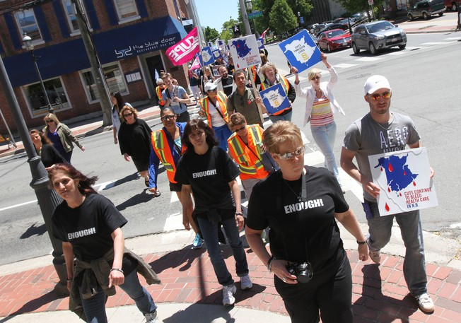 Members of the New Brunswick Council of Hospital Unions, CUPE Local 1252, protest cuts in this file photo.