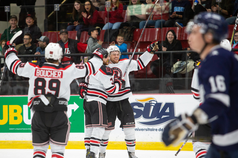 Former UNB teammates Matt Murphy (22) and Matthew Boucher (89) both scored goals for their ECHL teams Saturday. For Murphy, it was his first professional tally.