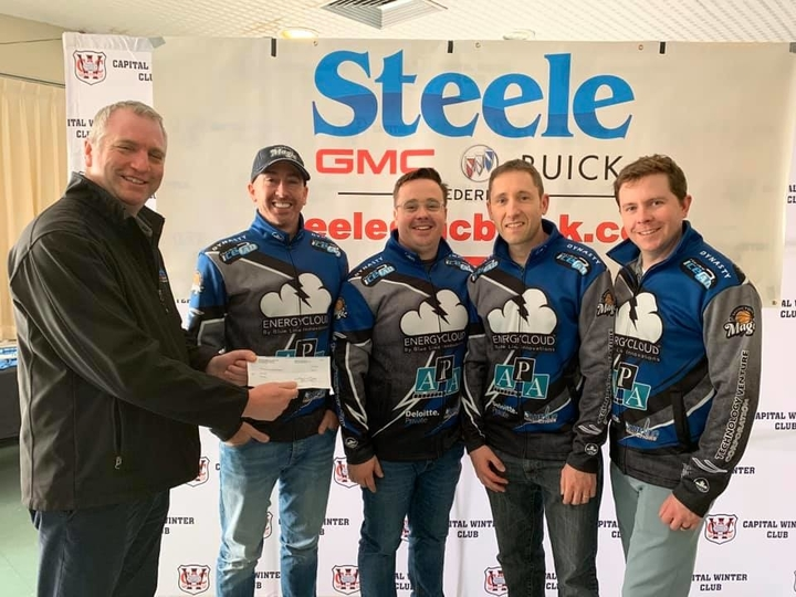 Skip Scott Jones and his Curl Moncton team won the men's division title at the Steele Cup on  in Fredericton a year ago. The event had been scheduled to unfold this weekend at the CWC but has been postponed until Nov. 27 due to the COVID-19 pandemic. Last year's presentation included, from left: Steve Adams of Steele GMC Buick Fredericton, Jones, third Jeremy Mallais, second Brian King and lead Rob Daley.