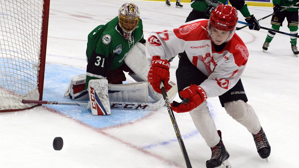 Winger Liam Smith of the Fredericton Red Wings pursues the puck in Maritime Hockey League exhibition hockey action against the Grand Falls Rapids in this file photo.