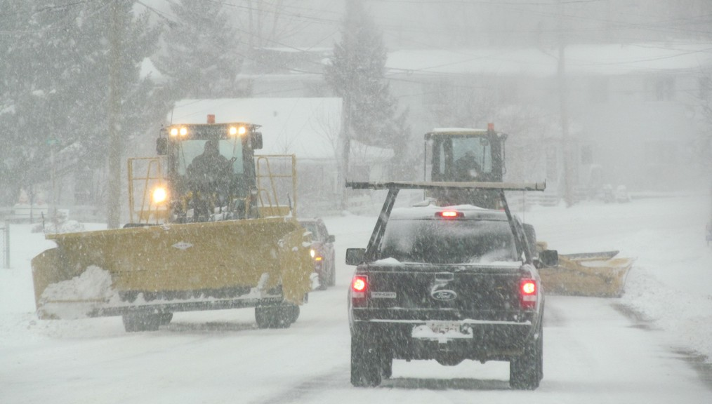 Bathurst can expect between 15 and 25 centimetres of snow Saturday into Sunday. Shown is a snow plow on the Bathurst streets during a past storm.