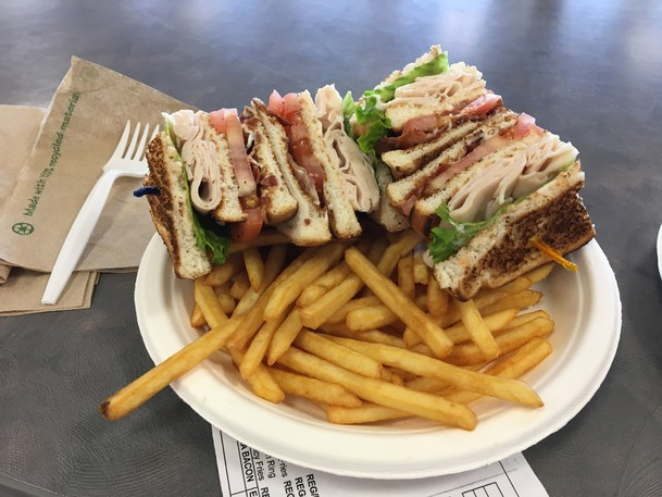 A club sandwich and fries from Sodexo's cafeteria at the University of New Brunswick.