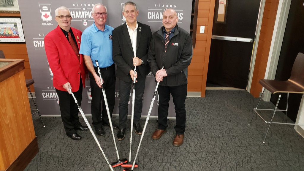 The Home Hardware Canada Cup of Curling has been cancelled, said Wayne Tallon, the vice-chair of the local organizing committee. The event was scheduled for Nov. 24-29 at the Aitken Centre in Fredericton. Making the announcement when the event was launched were, from left, Ron Hutton, representing Curling Canada, Tallon, Mayor Mike O'Brien, and David Saad, the facilities manager at UNB.