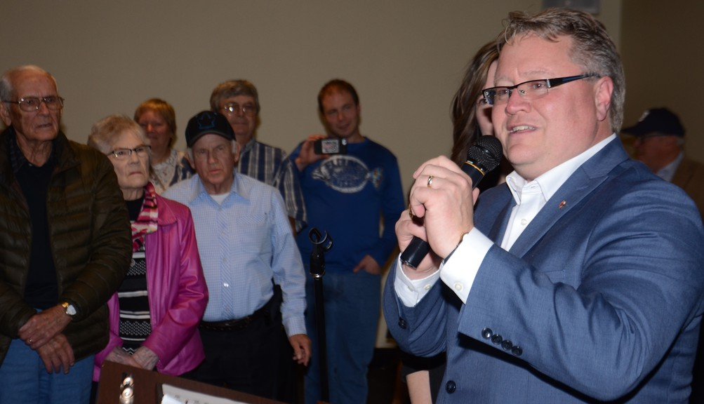 Richard Bragdon thanks supporters after winning the riding of Tobique-Mactaquac in this file photo. The  Conservative MP introduced his first private member's bill titled the Reduction of Recidivism Framework Act in February. The bill has now gone through second reading and is undergoing a committee study.