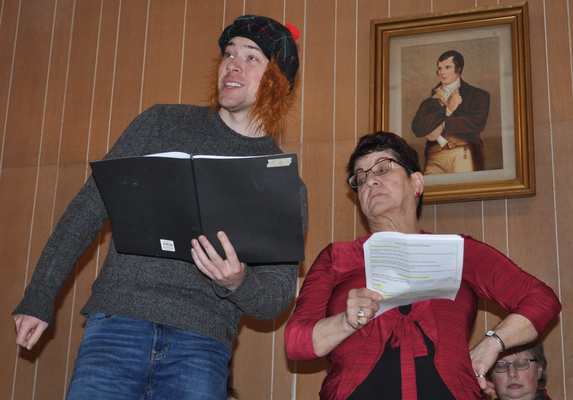Tim Scheidler and Carmella Murch, members of the popular Scotch Colony Players, performed in a skit that poked gentle fun at the history of the community during the 2019 Robbie Burns Night in Kincardine. This year, the concert will be held virtually due to the pandemic but there will still be singing, dancing, laughter and more.