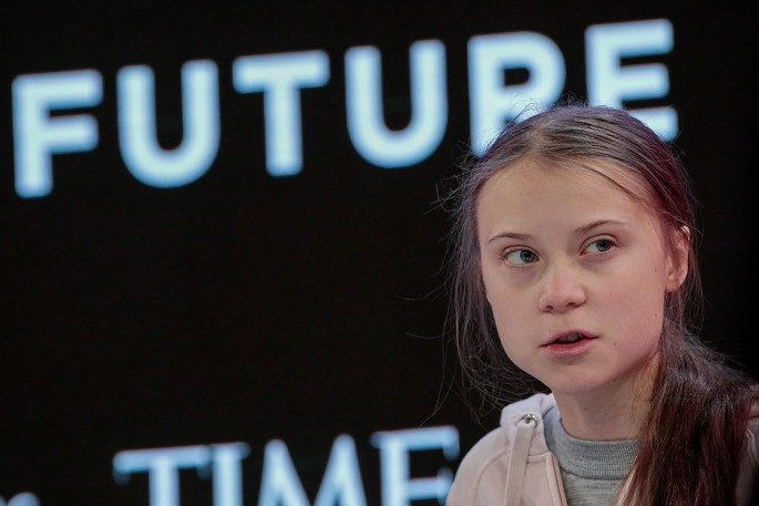 Greta Thunberg, climate activist, speaks during a panel session on the opening day of the World Economic Forum in Davos, Switzerland.