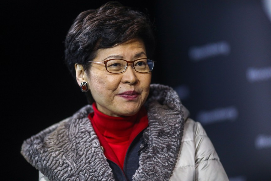 Carrie Lam, Hong Kong's chief executive, pauses during a Bloomberg Television interview on the opening day of the World Economic Forum (WEF) in Davos, Switzerland, on Jan. 21, 2020.
