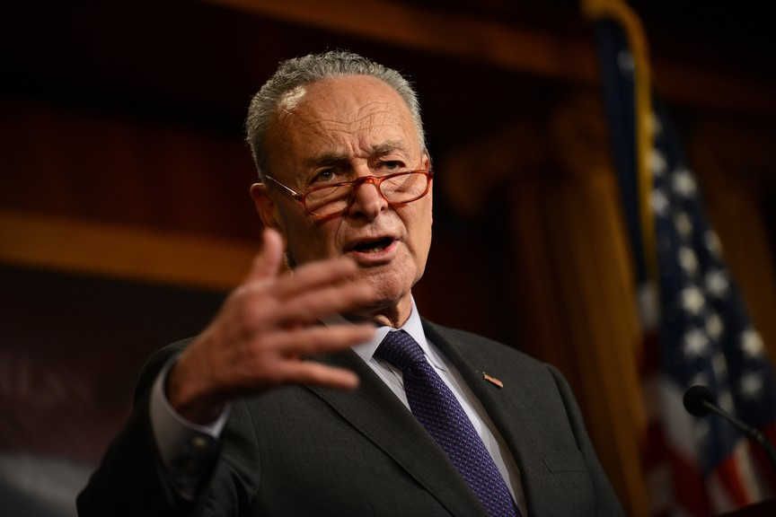 Senate Minority Leader Chuck Schumer, D-N.Y., speaks during a news conference about the Senate impeachment trial of President Donald Trump on Saturday, Jan. 25, 2020.