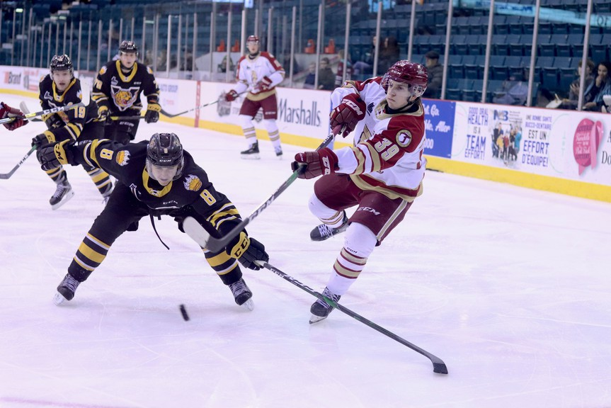 The Quebec Major Junior Hockey League has announced additional regular season games for teams in Prince Edward Island and Nova Scotia, while the three New Brunswick-based teams await the green light to return to play. Pictured is the Victoriaville Tigres competing against the Acadie-Bathurst Titan at the K.C. Irving Regional Centre in Bathurst last season.