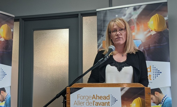 Sheri Somerville, CEO of the Atlantic Chamber of Conference, is shown speaking in Moncton in a file photo.