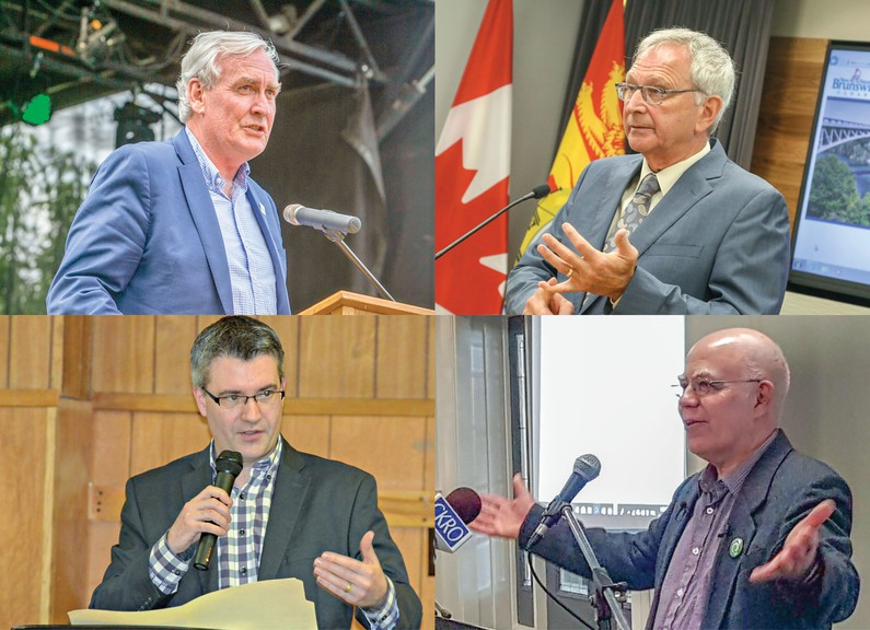 Clockwise, from top left: Liberal Leader Kevin Vickers, Premier Blaine Higgs, Green party Leader David Coon, People's Alliance Leader Kris Austin.