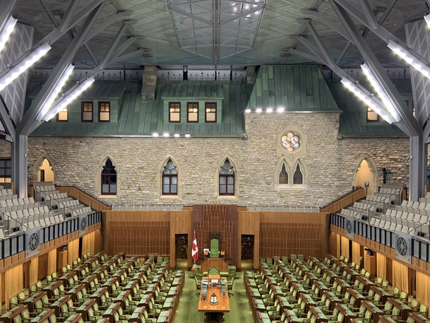 The House of Commons in Ottawa is pictured empty.
