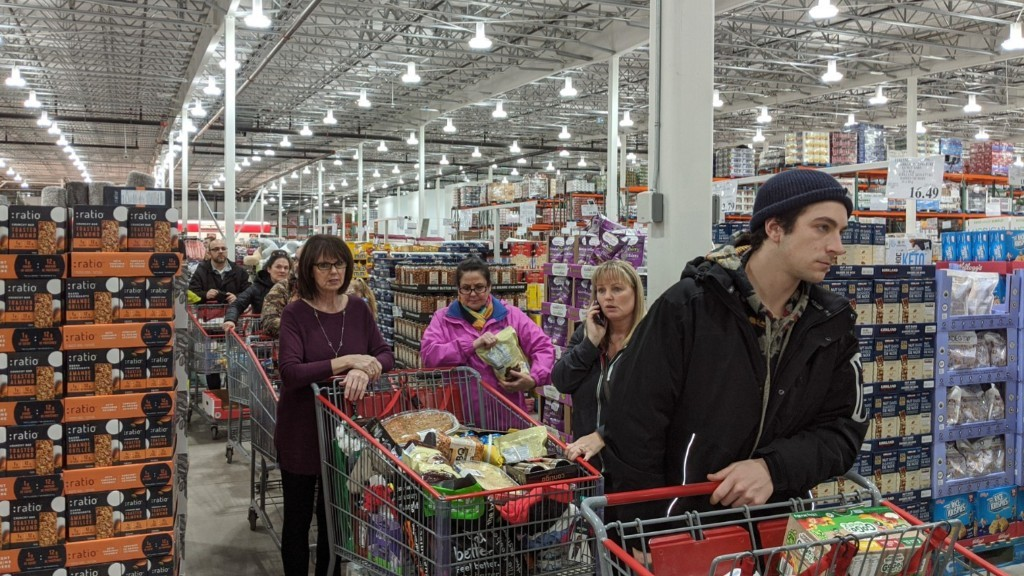 Shoppers browse the aisles at the Moncton Costco in this file photo.