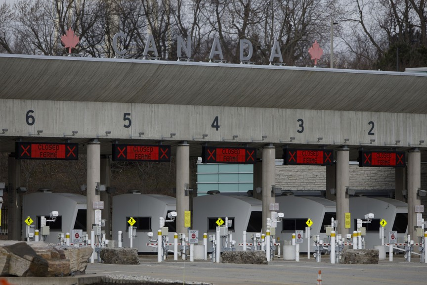 Closed terminals are seen at the U.S.-Canada border crossing in Fort Erie, Ontario, on March 21, 2020.