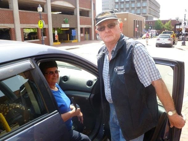 Fred Kinder, a volunteer driver, brings client Carm Powers to her destination as part of Urban/Rural Ride in this file photo. Tele-Drive Albert County, Rural Rides, Volunteer Centre of Southeastern New Brunswick Inc. drive program have recently amalgamated to expand their coverage territory.