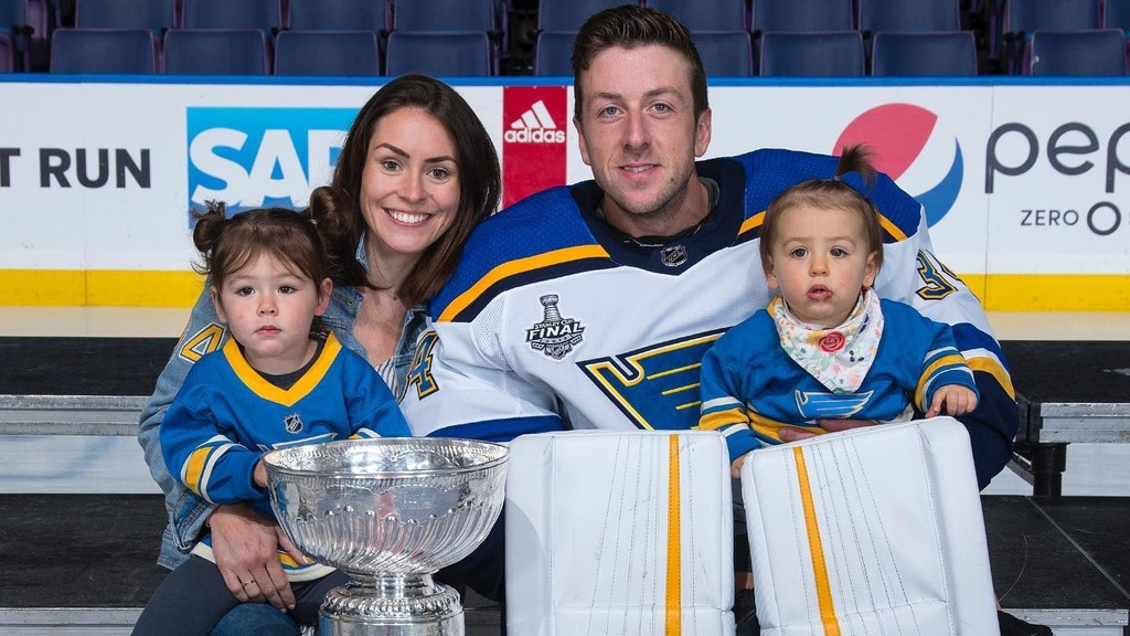 St. Louis Blues goaltender Jake Allen, his wife Shannon and daughters Lennon, left, and Reagan pose with the Stanley Cup in this June 20, 2019, file photo. Allen is back in St. Louis preparing for the opening of training camps and the start of the Stanley Cup playoffs in August.