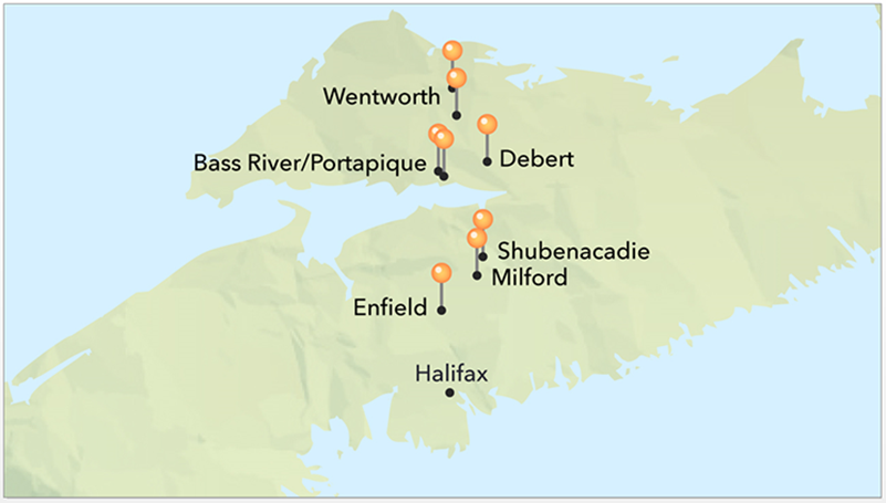 A map of Nova Scotia highlighting the communities of Wentworth, Portapique, Debert, Shubenacadie, Milford and Enfield and their proximity to Halifax.