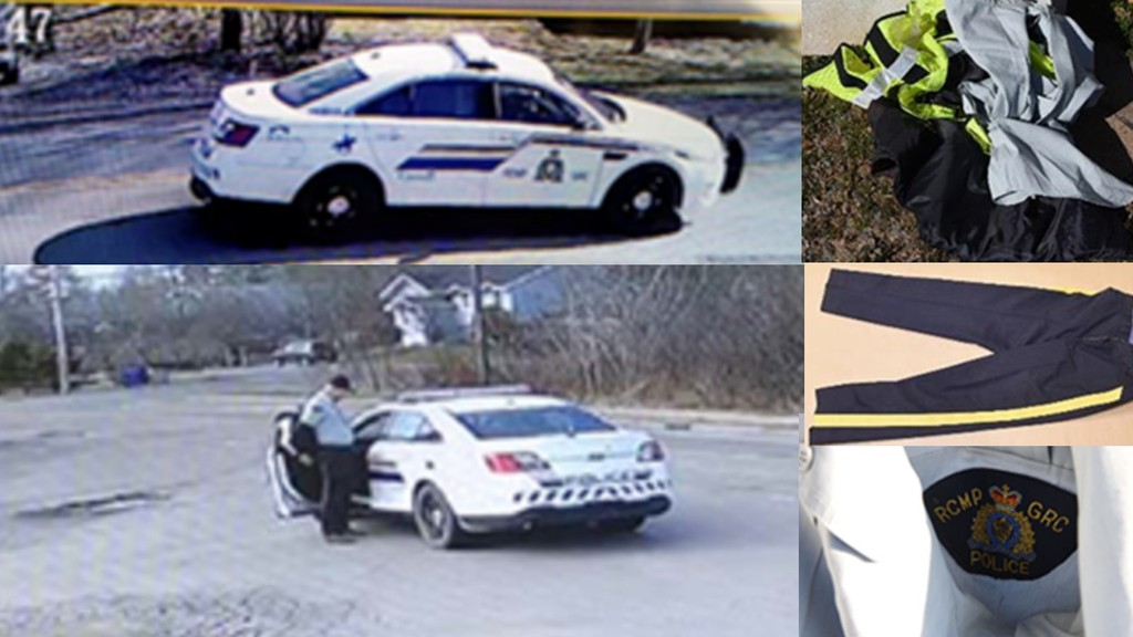 A composite of images of the Nova Scotia gunman's car, at left, and the clothing he used to disguise himself as an RCMP officer when he began a rampage that killed 22 people.