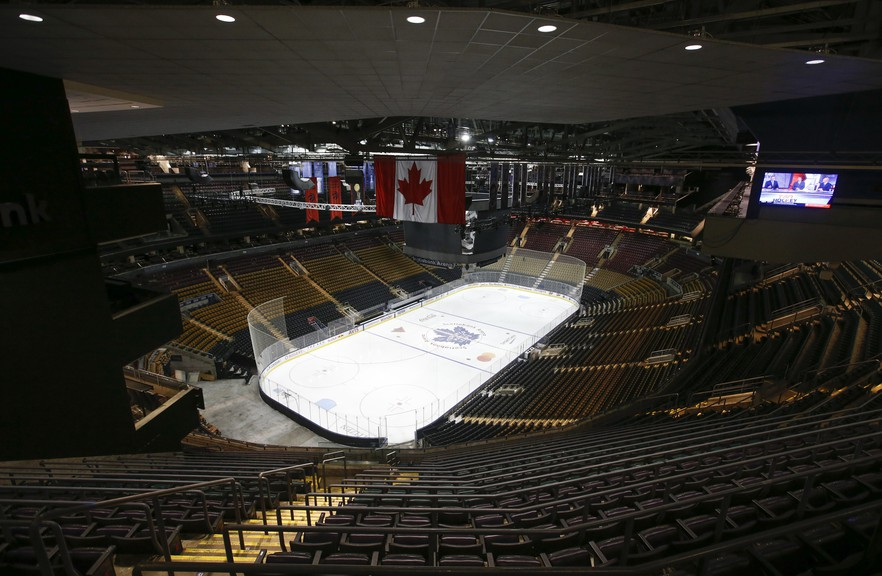 Scotiabank Arena in Toronto is believed to be in the running to serve as host to one of two NHL bubbles if and when play resumes.